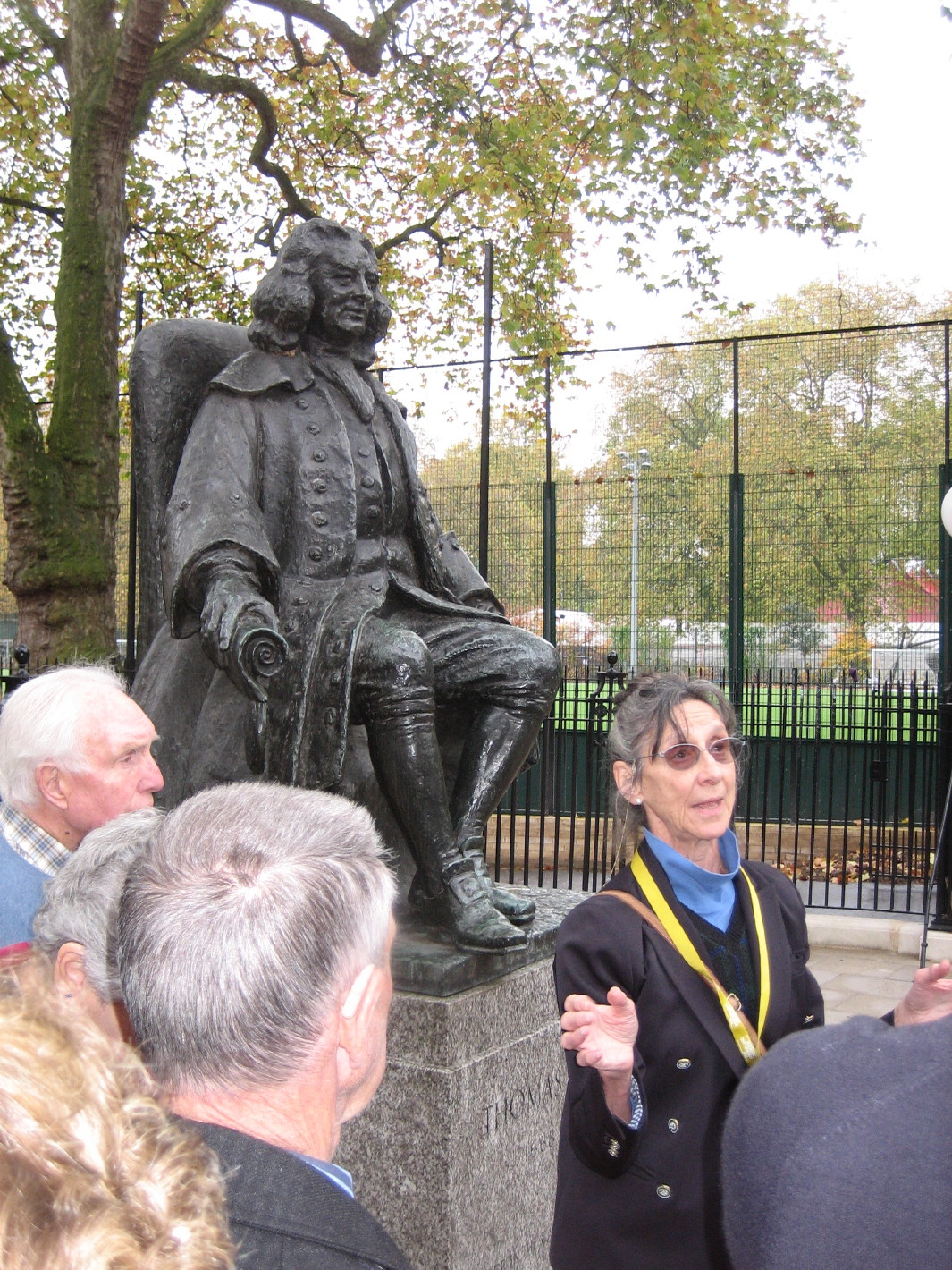 Foundling Museum - Visitors are welcomed by our guide under the eye of founder Thomas Coram.