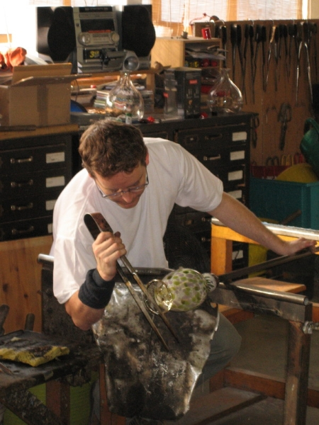 Blowing art glass at a London studio